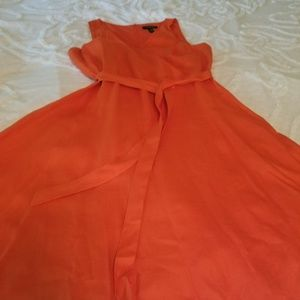 Orange Linen Laurn Fit and Flare Dress